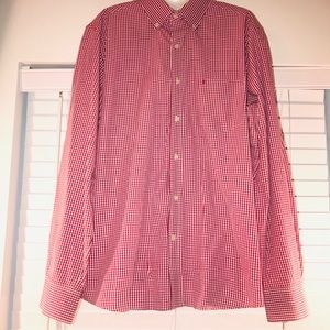 IZOD red/white gingham long sleeve button down